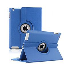 Custodia Portafoglio In Pelle con Supporto Girevole per Apple iPad 2 Blu