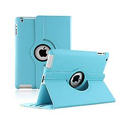 Custodia Portafoglio In Pelle con Supporto Girevole per Apple iPad 2 Cielo Blu