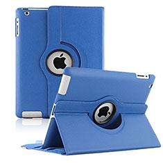 Custodia Portafoglio In Pelle con Supporto Girevole per Apple iPad 3 Blu