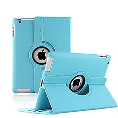 Custodia Portafoglio In Pelle con Supporto Girevole per Apple iPad 3 Cielo Blu