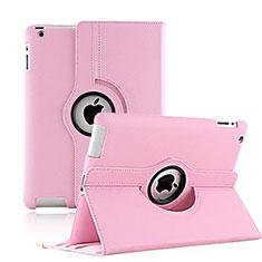 Custodia Portafoglio In Pelle con Supporto Girevole per Apple iPad 3 Rosa