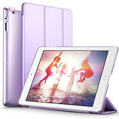 Custodia Portafoglio In Pelle con Supporto L01 per Apple iPad 2 Viola