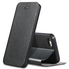Custodia Portafoglio In Pelle con Supporto L01 per Apple iPhone 5S Nero