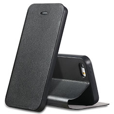 Custodia Portafoglio In Pelle con Supporto L01 per Apple iPhone SE Nero