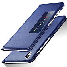 Custodia Portafoglio In Pelle con Supporto L01 per Huawei Ascend P7 Blu
