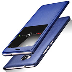 Custodia Portafoglio In Pelle con Supporto L01 per Huawei G8 Blu