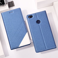 Custodia Portafoglio In Pelle con Supporto L01 per Huawei GR3 (2017) Blu