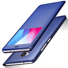 Custodia Portafoglio In Pelle con Supporto L01 per Huawei GR5 Blu