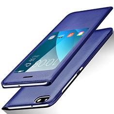 Custodia Portafoglio In Pelle con Supporto L01 per Huawei Honor 4X Blu