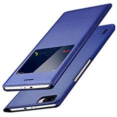 Custodia Portafoglio In Pelle con Supporto L01 per Huawei Honor 6 Plus Blu