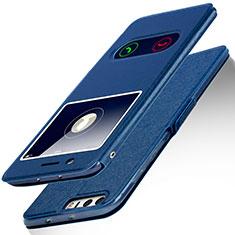 Custodia Portafoglio In Pelle con Supporto L01 per Huawei Honor 8 Blu