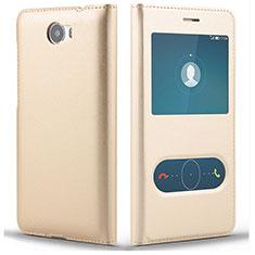 Custodia Portafoglio In Pelle con Supporto L01 per Huawei Honor Play 5 Oro