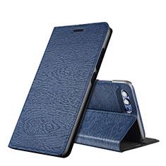 Custodia Portafoglio In Pelle con Supporto L01 per Huawei Honor V10 Blu