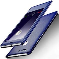 Custodia Portafoglio In Pelle con Supporto L01 per Huawei Honor V9 Blu