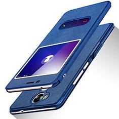 Custodia Portafoglio In Pelle con Supporto L01 per Huawei Honor V9 Play Blu