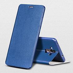 Custodia Portafoglio In Pelle con Supporto L01 per Huawei Mate 9 Blu