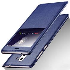 Custodia Portafoglio In Pelle con Supporto L01 per Huawei Mate 9 Lite Blu