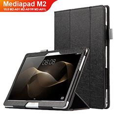 Custodia Portafoglio In Pelle con Supporto L01 per Huawei MediaPad M2 10.0 M2-A01 M2-A01W M2-A01L Nero