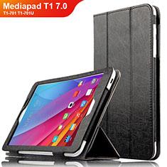 Custodia Portafoglio In Pelle con Supporto L01 per Huawei Mediapad T1 7.0 T1-701 T1-701U Nero