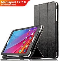 Custodia Portafoglio In Pelle con Supporto L01 per Huawei Mediapad T2 7.0 BGO-DL09 BGO-L03 Nero