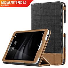 Custodia Portafoglio In Pelle con Supporto L01 per Huawei MediaPad T2 Pro 7.0 PLE-703L Nero
