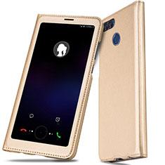 Custodia Portafoglio In Pelle con Supporto L01 per Huawei P Smart Oro
