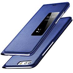 Custodia Portafoglio In Pelle con Supporto L01 per Huawei P9 Blu