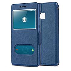 Custodia Portafoglio In Pelle con Supporto L01 per Huawei P9 Lite Blu