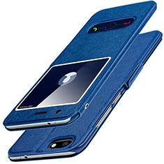 Custodia Portafoglio In Pelle con Supporto L01 per Huawei Y6 Pro (2017) Blu