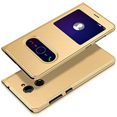 Custodia Portafoglio In Pelle con Supporto L01 per Huawei Y7 Prime Oro