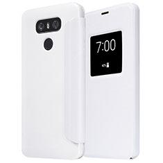 Custodia Portafoglio In Pelle con Supporto L01 per LG G6 Bianco