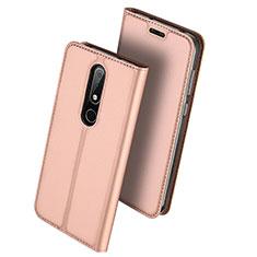 Custodia Portafoglio In Pelle con Supporto L01 per Nokia 6.1 Plus Oro Rosa
