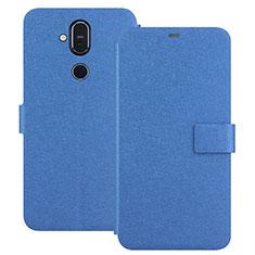 Custodia Portafoglio In Pelle con Supporto L01 per Nokia 7.1 Plus Blu