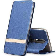 Custodia Portafoglio In Pelle con Supporto L01 per Nokia X5 Blu