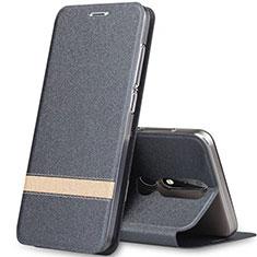 Custodia Portafoglio In Pelle con Supporto L01 per Nokia X5 Grigio