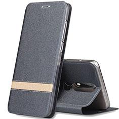 Custodia Portafoglio In Pelle con Supporto L01 per Nokia X5 Grigio Scuro