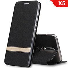 Custodia Portafoglio In Pelle con Supporto L01 per Nokia X5 Nero