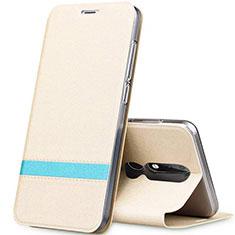 Custodia Portafoglio In Pelle con Supporto L01 per Nokia X5 Oro