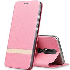 Custodia Portafoglio In Pelle con Supporto L01 per Nokia X5 Oro Rosa
