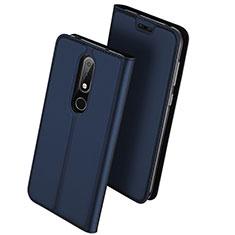 Custodia Portafoglio In Pelle con Supporto L01 per Nokia X6 Blu