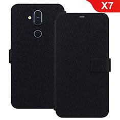 Custodia Portafoglio In Pelle con Supporto L01 per Nokia X7 Nero