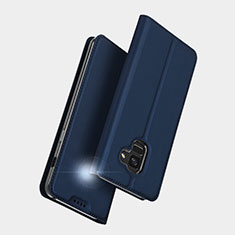 Custodia Portafoglio In Pelle con Supporto L01 per Samsung Galaxy A5 (2018) A530F Blu