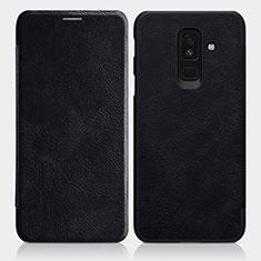Custodia Portafoglio In Pelle con Supporto L01 per Samsung Galaxy A6 Plus (2018) Nero