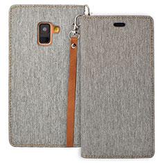 Custodia Portafoglio In Pelle con Supporto L01 per Samsung Galaxy A8 (2018) A530F Grigio