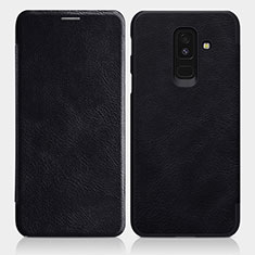 Custodia Portafoglio In Pelle con Supporto L01 per Samsung Galaxy A9 Star Lite Nero