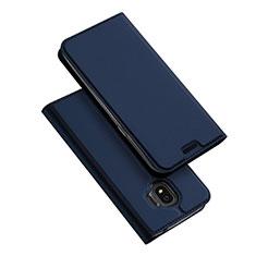 Custodia Portafoglio In Pelle con Supporto L01 per Samsung Galaxy J2 Pro (2018) J250F Blu