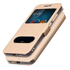 Custodia Portafoglio In Pelle con Supporto L01 per Samsung Galaxy J5 (2017) SM-J750F Oro