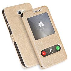Custodia Portafoglio In Pelle con Supporto L01 per Samsung Galaxy J7 Prime Oro