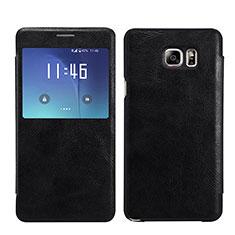 Custodia Portafoglio In Pelle con Supporto L01 per Samsung Galaxy Note 5 N9200 N920 N920F Nero