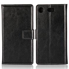 Custodia Portafoglio In Pelle con Supporto L01 per Sony Xperia XZ1 Compact Nero